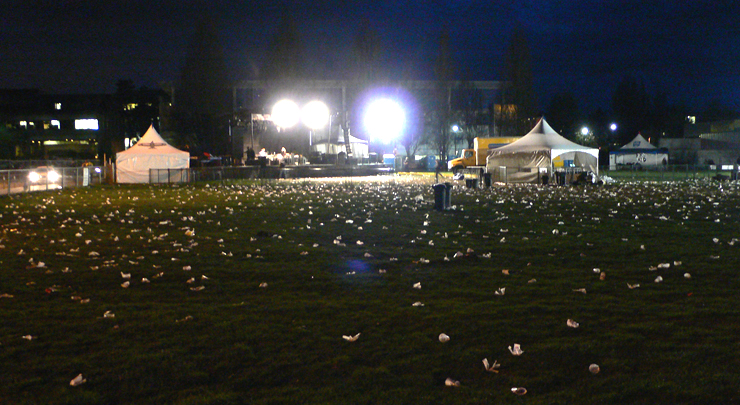 Aftermath of the UBC year end Block Party (04.08.09) - Mcinnis Field, UBC