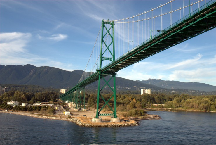Passing under the Lions Gate Bridge in late-August