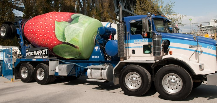 The Strawberry cement truck at Ocean Cement, Granville Island