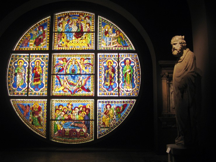 Stained glass window in Rome, Italy