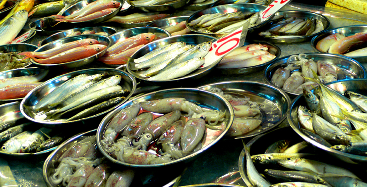 Fresh seafood offered at various street markets in Hong Kong.