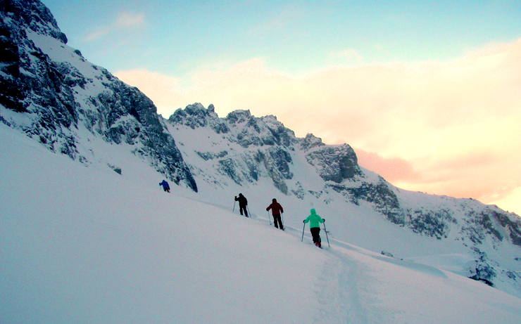 Traversing through the Blackcomb glacier towards Sapphire-One