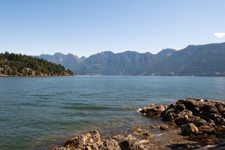 bowen island looking over the sea to sky highway from snug cove