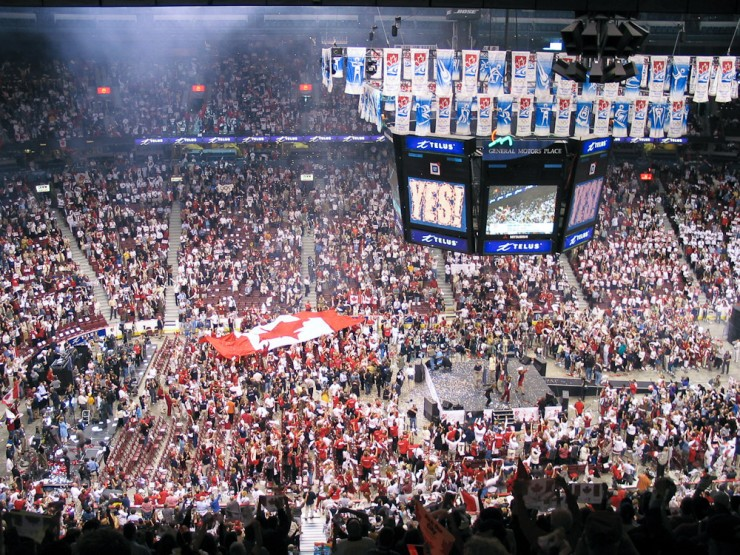 A few minutes or so after the final decision by the IOC to select Vancouver as the 2010 Olympic Games host, GM Place, July 2nd, 2003